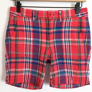 J Crew Sunday Slim Short Madras Plaid Linen Blend